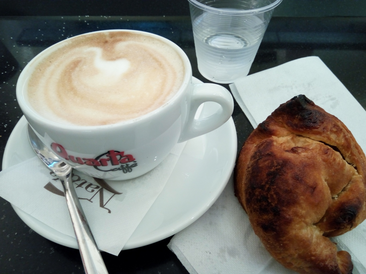 Cappuccino (with Quarta coffee) and special croissant filled with Gianduia chocolate
