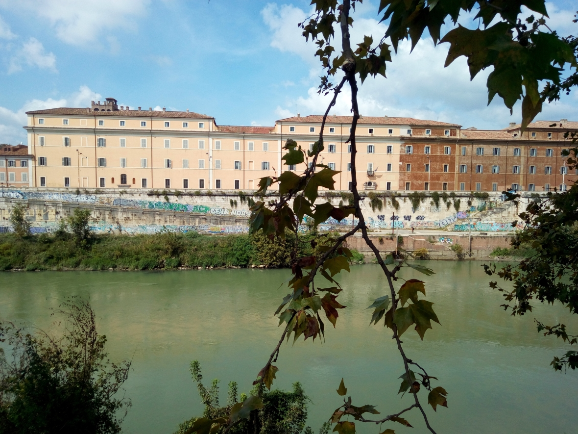 View on the Tiber and the penitentiary Regina Coeli