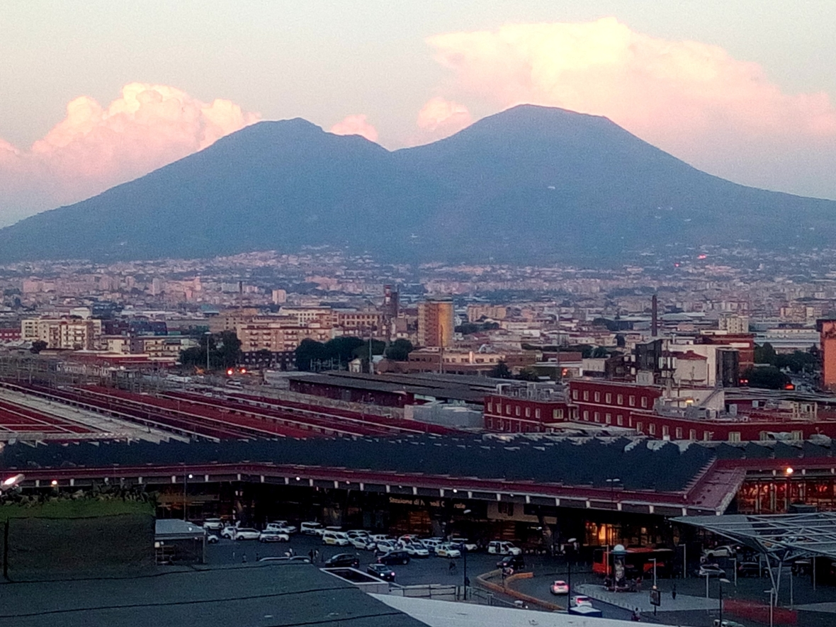 Vesuvio and Naples Railway Station at sunset