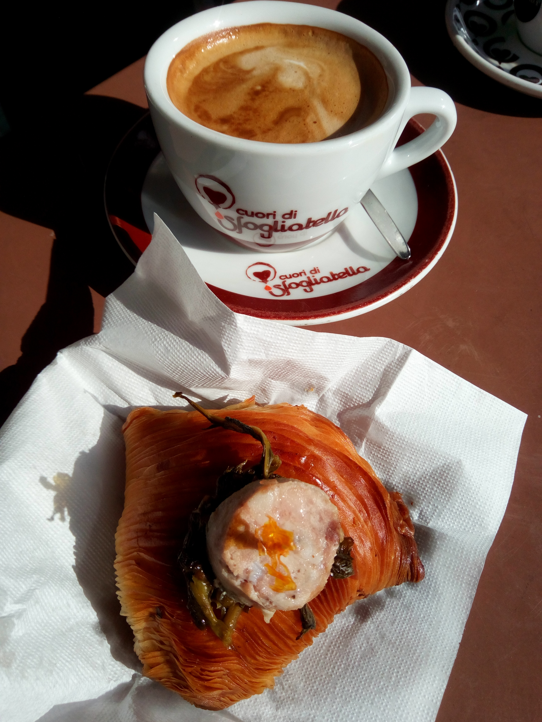 Unconventional breakfast : cappuccino and