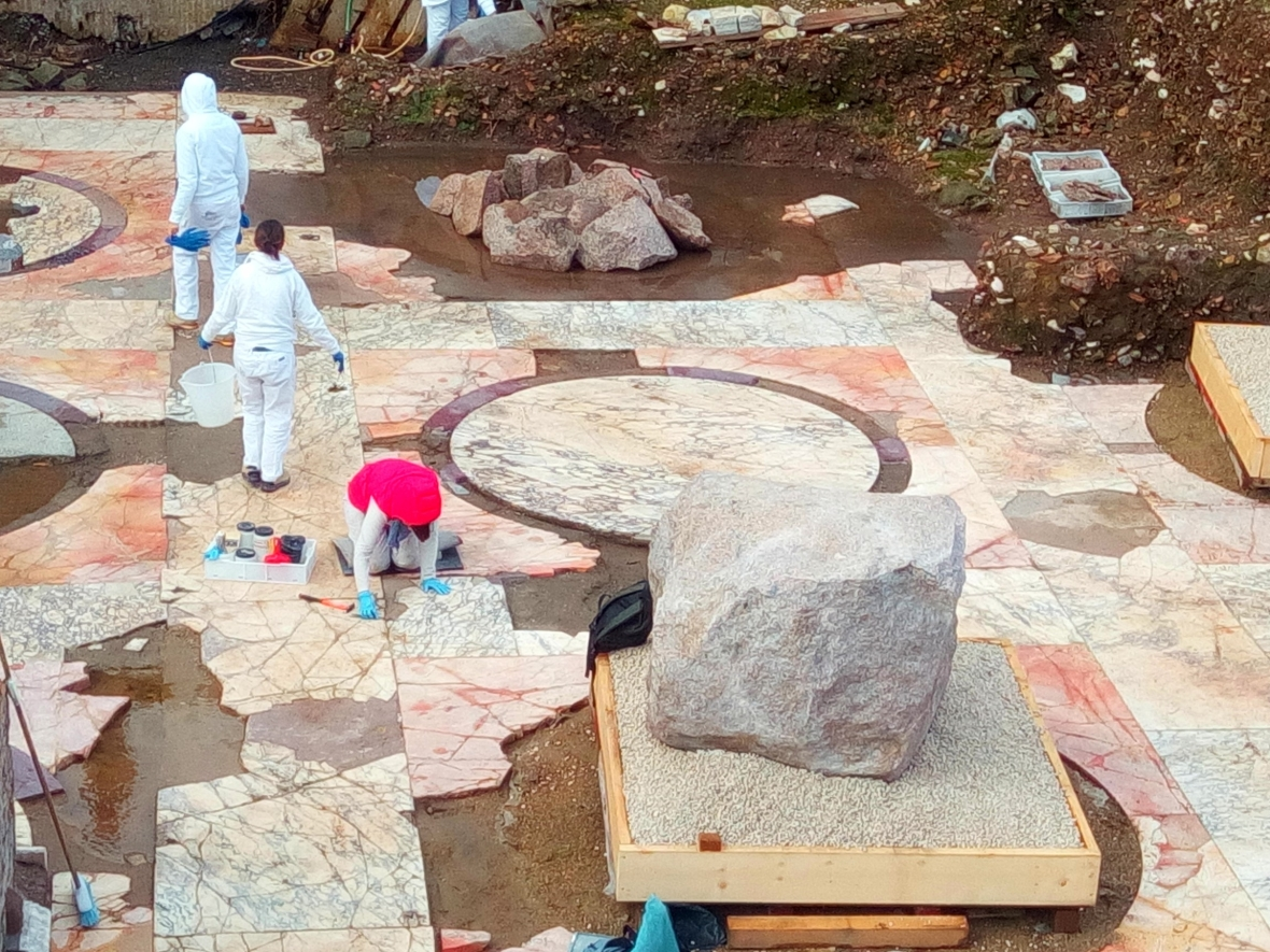 Works in progress to restore the Temple of Peace