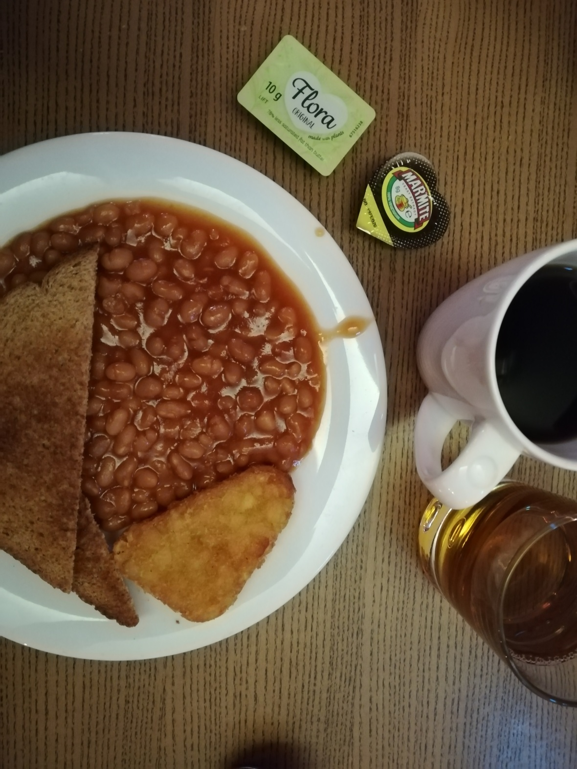 American coffee, apple juice, Marmite❤️, beans, bread, potatoes