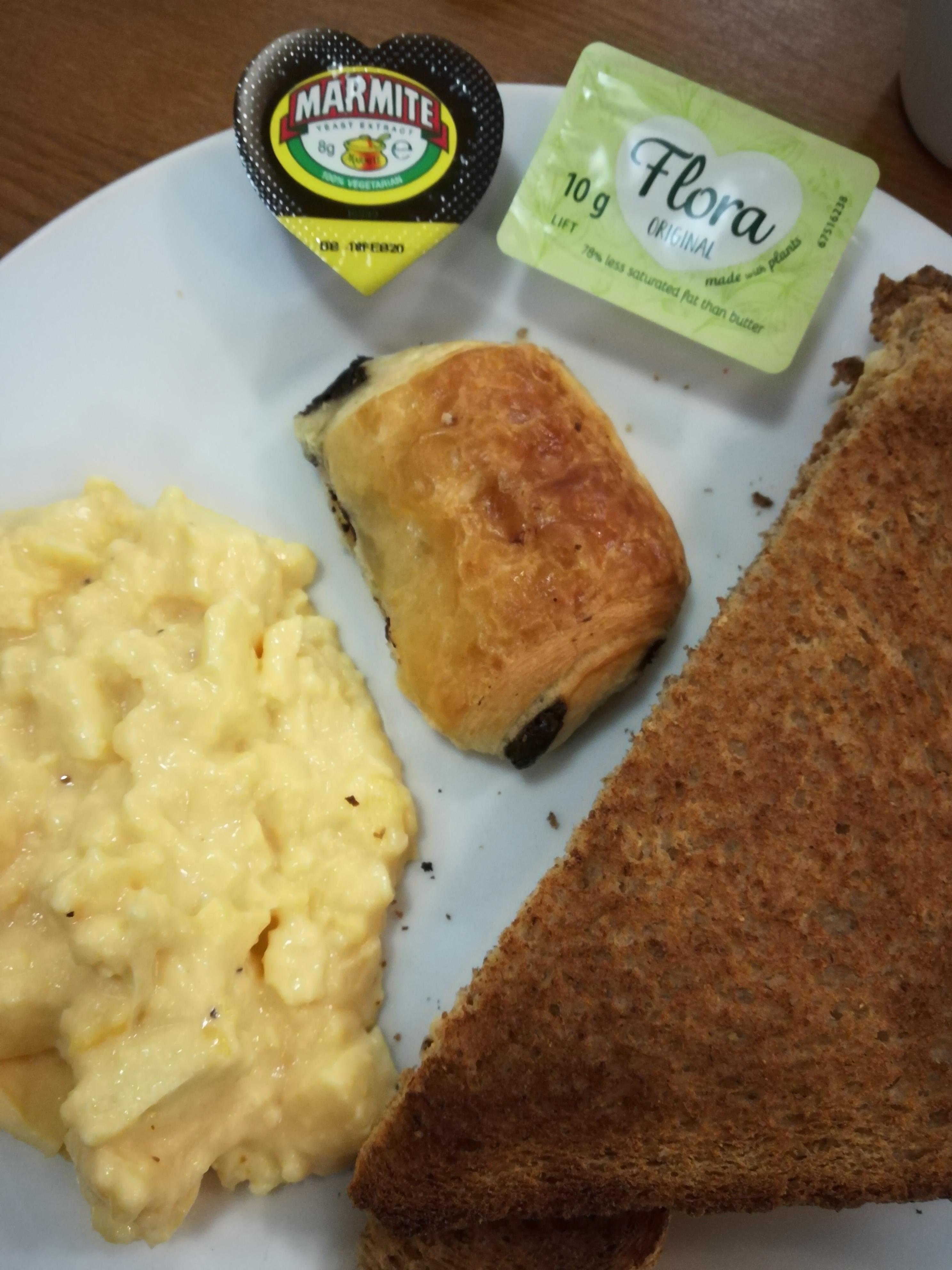 Marmite❤️, butter, bread, scrumbled eggs, pain au chocolat