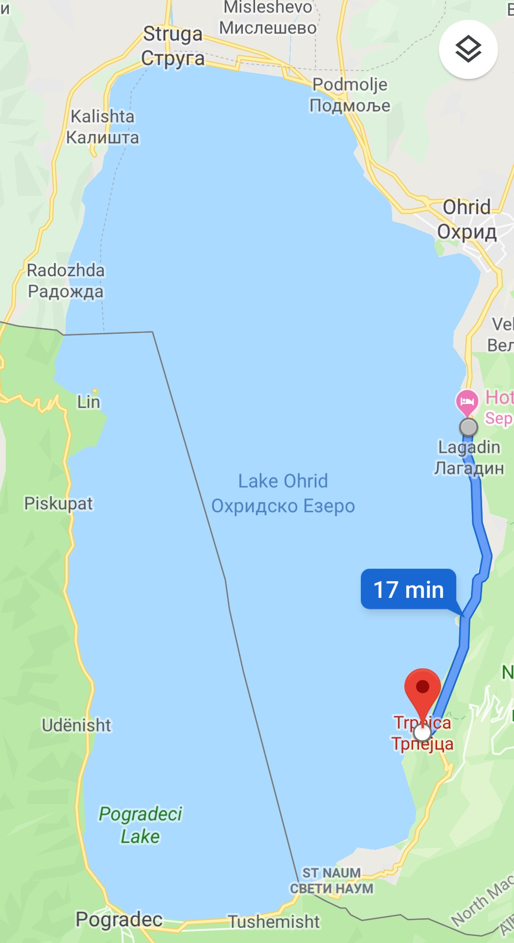 The line on the lake is the border between North Macedonia and Albania