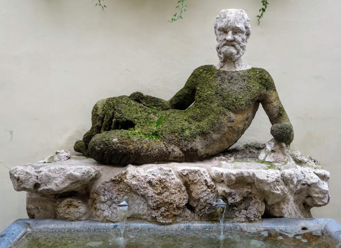 The Baboon Fountain (representing a Silenus, half a man, half a goat)